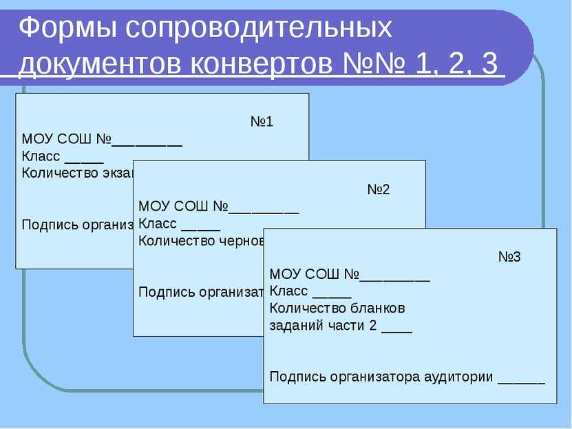 Формы сопроводительных документов конвертов №№ 1, 2, 3 №1 МОУ СОШ №_________ ...