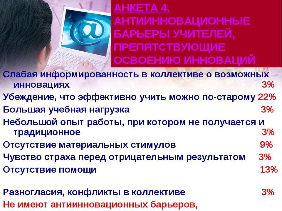 АНКЕТА 4. АНТИИННОВАЦИОННЫЕ БАРЬЕРЫ УЧИТЕЛЕЙ, ПРЕПЯТСТВУЮЩИЕ ОСВОЕНИЮ ИННОВАЦ...