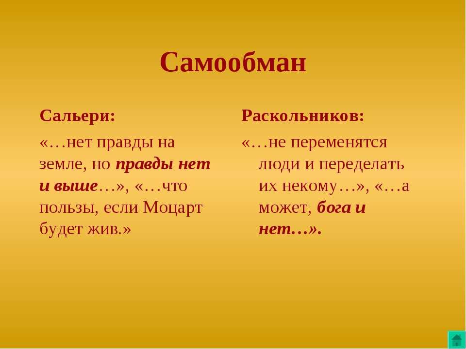 Самообман Сальери: «…нет правды на земле, но правды нет и выше…», «…что польз...