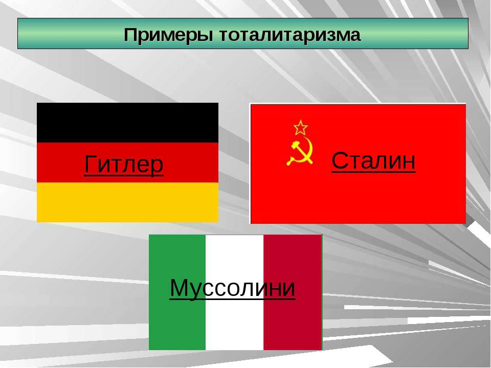 Примеры тоталитаризма Гитлер Муссолини Сталин