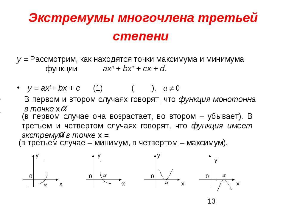 Экстремумы многочлена третьей степени у = ах2 + bх + с (1) ( ). у = Рассмотри...