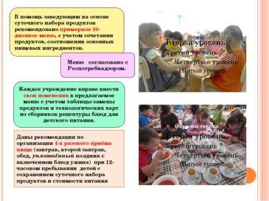 Даны рекомендации по организации 4-х разового приёма пищи (завтрак, второй за...