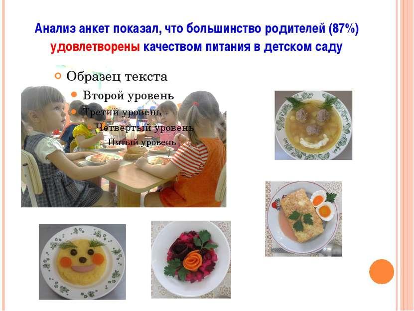 Анализ анкет показал, что большинство родителей (87%) удовлетворены качеством...