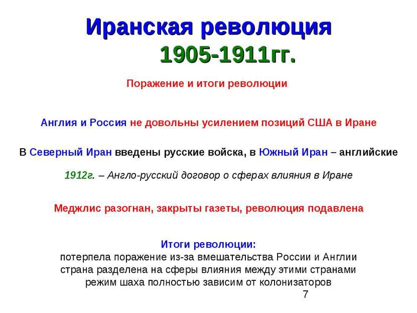 Иранская революция 1905-1911гг. Поражение и итоги революции Англия и Россия н...