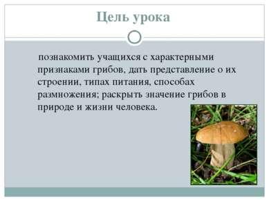Цель урока познакомить учащихся с характерными признаками грибов, дать предст...