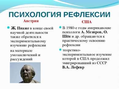ПСИХОЛОГИЯ РЕФЛЕКСИИ Ж. Пиаже в конце своей научной деятельности также обрати...