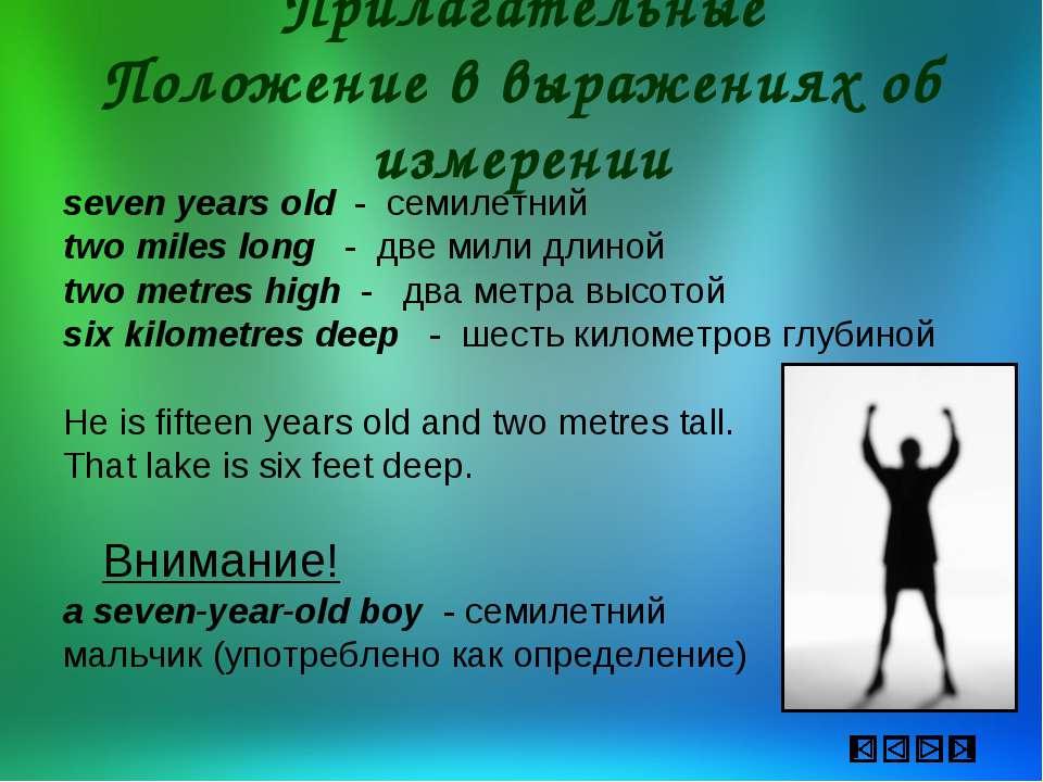 Прилагательные Положение в выражениях об измерении seven years old - семилетн...