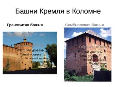 Башни Кремля в Коломне Грановитая башня Семёновская башня