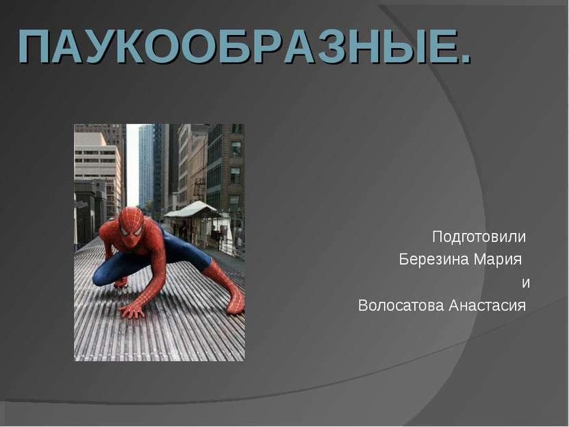 Подготовили Березина Мария и Волосатова Анастасия ПАУКООБРАЗНЫЕ.