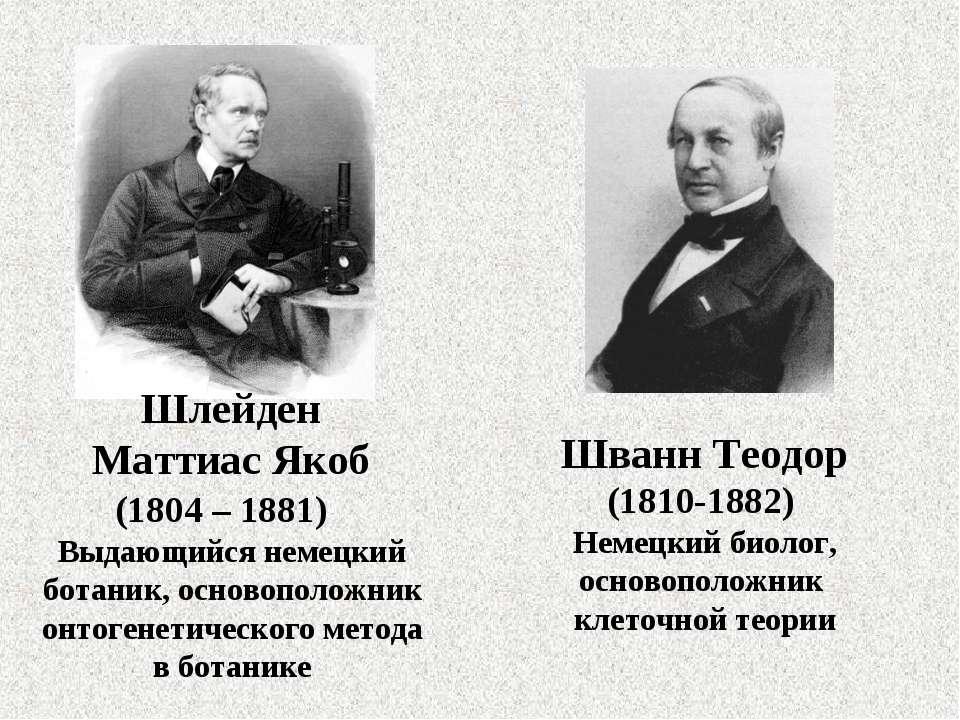 Шлейден Маттиас Якоб (1804 – 1881) Выдающийся немецкий ботаник, основоположни...