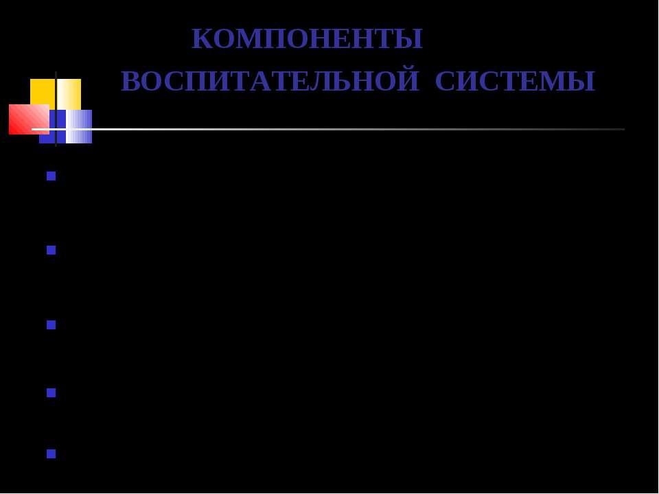 КОМПОНЕНТЫ ВОСПИТАТЕЛЬНОЙ СИСТЕМЫ ИНДИВИДНО-ГРУППОВОЙ ЦЕННОСТНО-ОРИЕНТАЦИОННЫ...
