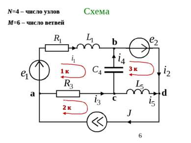 Схема N=4 – число узлов М=6 – число ветвей