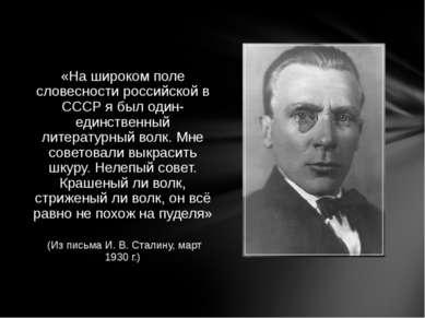 «На широком поле словесности российской в СССР я был один-единственный литера...