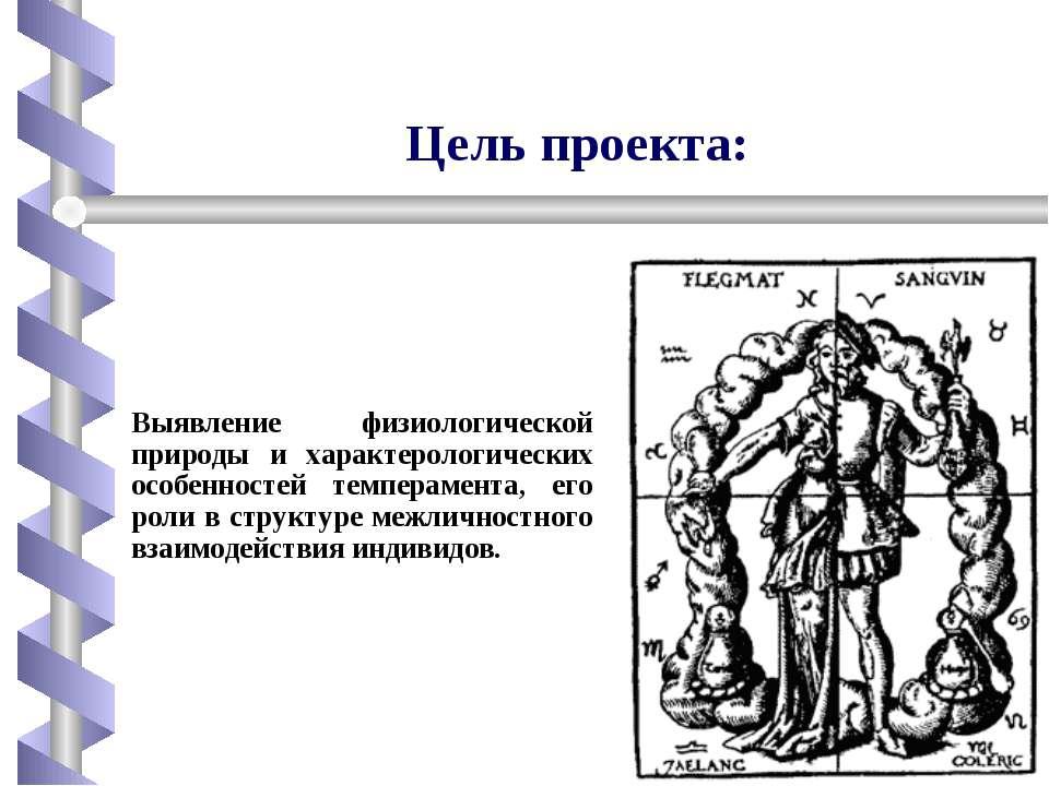 Цель проекта: Выявление физиологической природы и характерологических особенн...