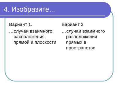 4. Изобразите… Вариант 1. …случаи взаимного расположения прямой и плоскости В...