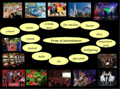 Forms of entertainment amusement park bullfighting disco aqua park zoo ballet...