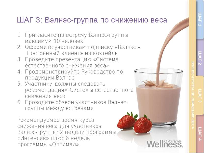 ШАГ 3: Вэлнэс-группа по снижению веса Пригласите на встречу Вэлнэс-группы мак...