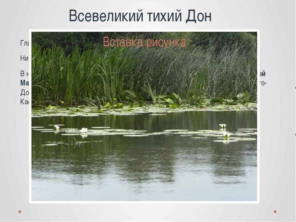 Всевеликий тихий Дон Главнейшие притоки: Непрядва, Красивая Меча, - справа; В...