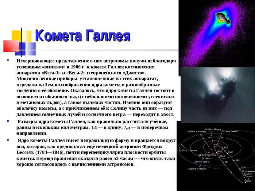 Комета Галлея Исчерпывающее представление о них астрономы получили благодаря ...