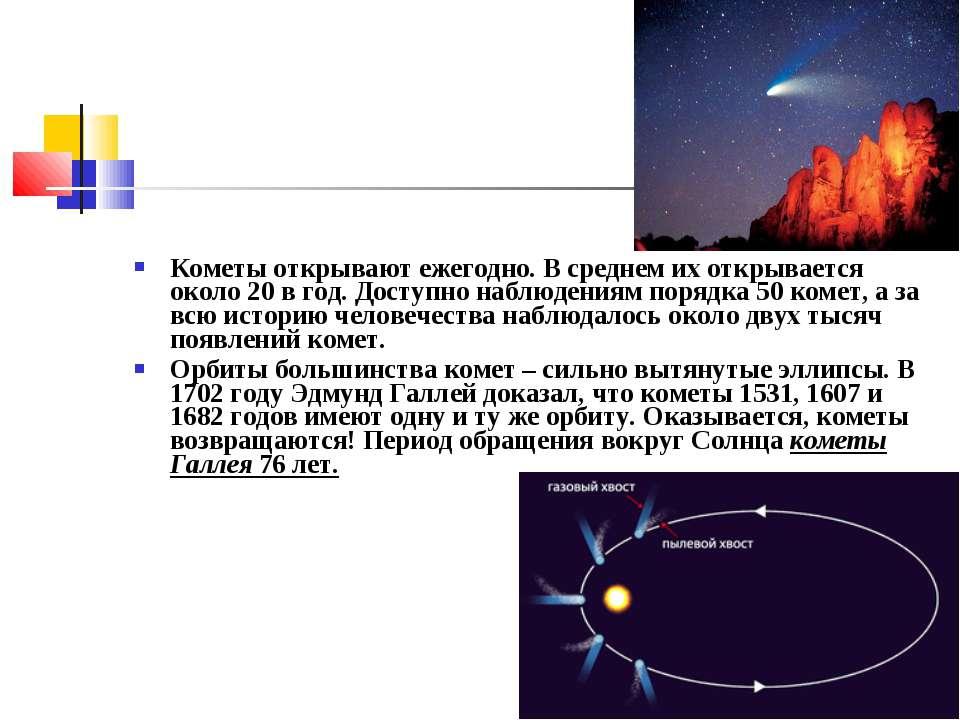Кометы открывают ежегодно. В среднем их открывается около 20 в год. Доступно ...