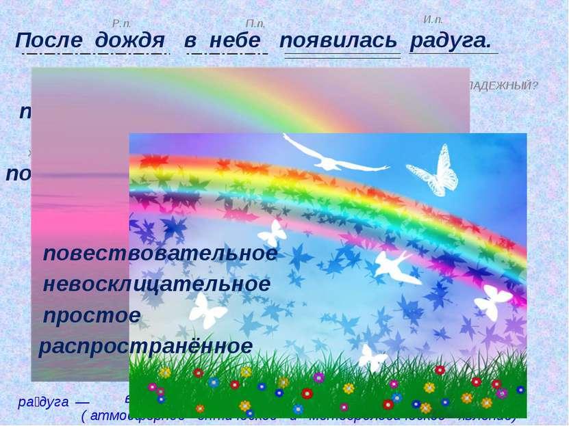 После дождя в небе появилась радуга. в небе где? П.п. в чём? после х когда? п...