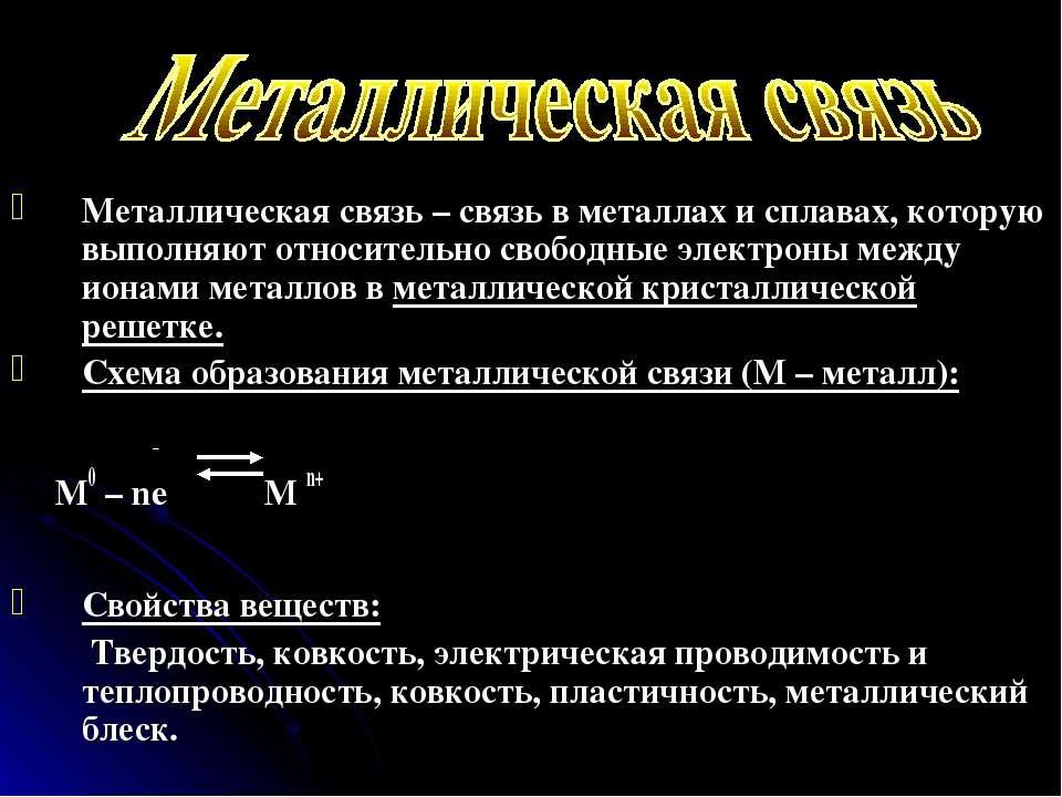 Металлическая связь – связь в