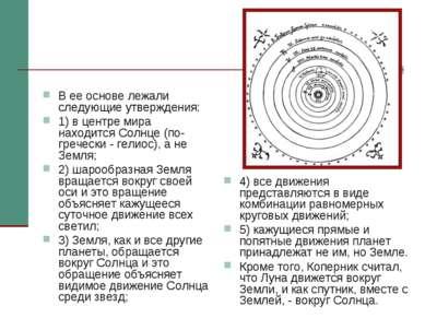 В ее основе лежали следующие утверждения: 1) в центре мира находится Солнце (...