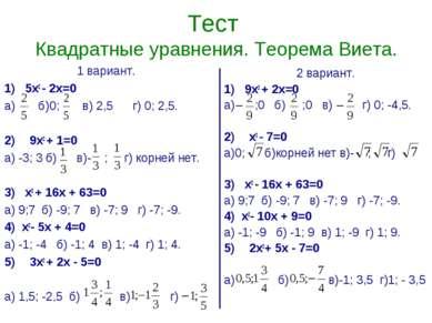 Тест Квадратные уравнения. Теорема Виета. 1 вариант. 1) 5х2 - 2х=0 а) б)0; в)...