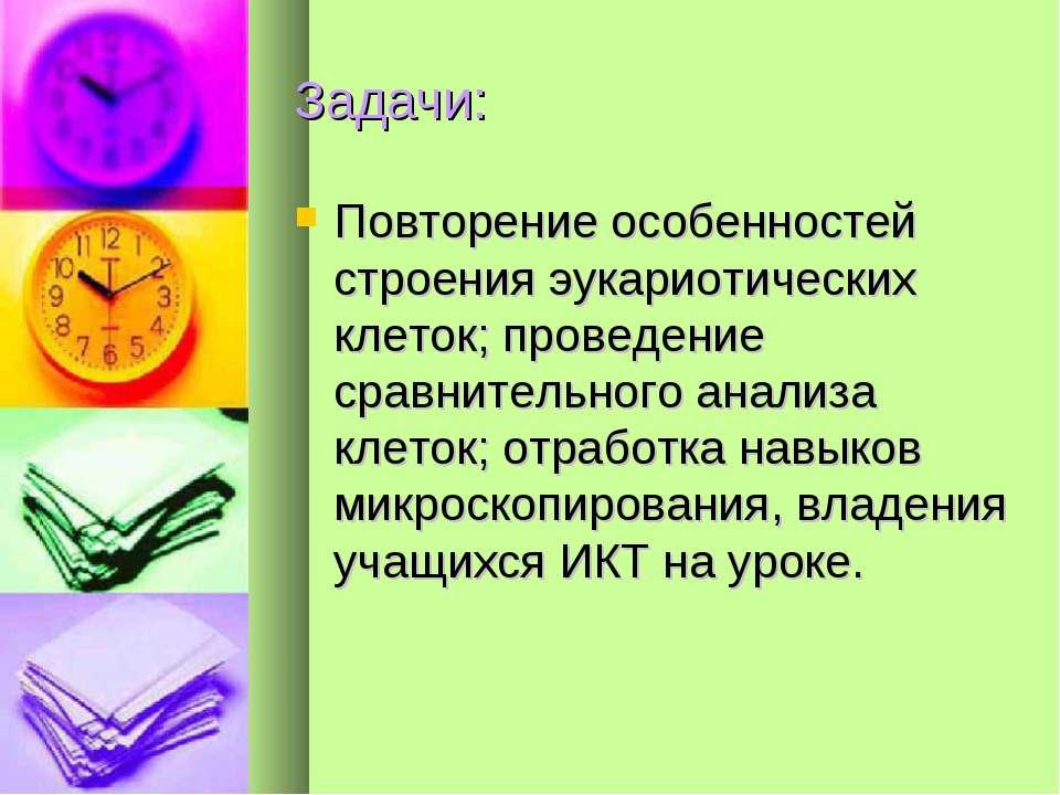 Задачи: Повторение особенностей строения эукариотических клеток; проведение с...