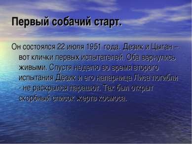 Первый собачий старт. Он состоялся 22 июля 1951 года. Дезик и Цыган – вот кли...