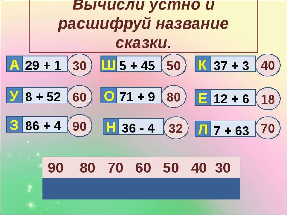 Вычисли устно и расшифруй название сказки. Н Е 29 + 1 8 + 52 86 + 4 5 + 45 71...