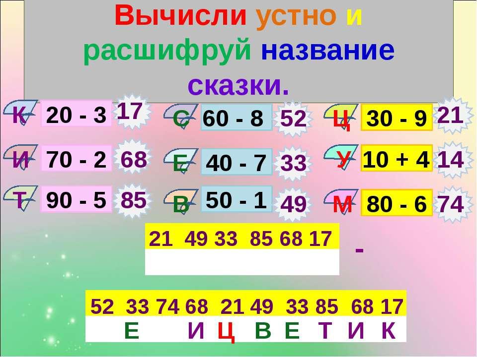 Вычисли устно и расшифруй название сказки. У 20 - 3 70 - 2 90 - 5 60 - 8 40 -...