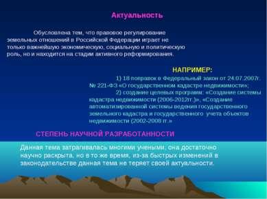 Актуальность НАПРИМЕР: 1) 18 поправок в Федеральный закон от 24.07.2007г. № 2...