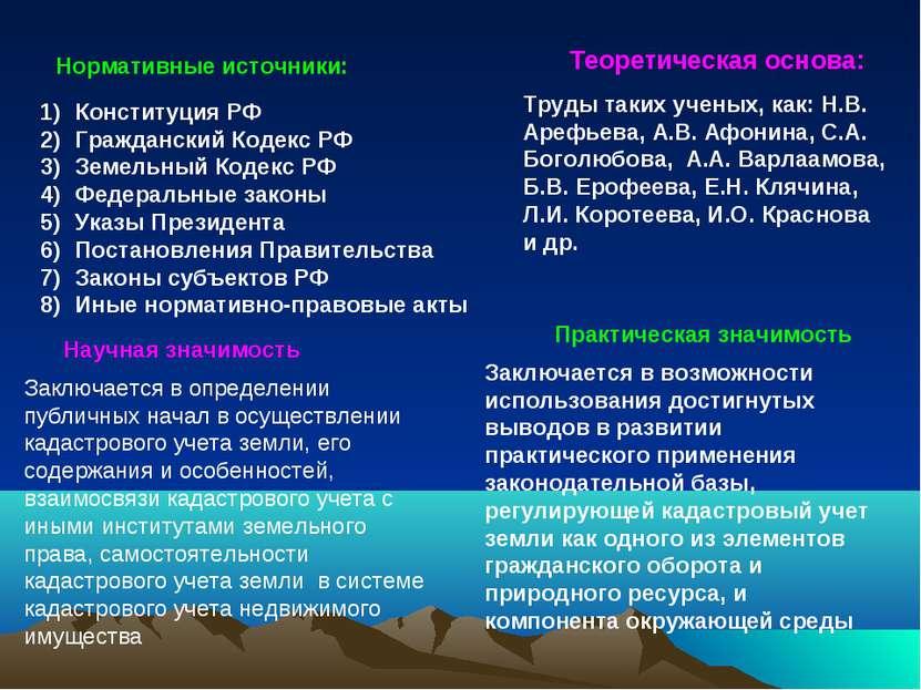 Нормативные источники: Конституция РФ Гражданский Кодекс РФ Земельный Кодекс ...