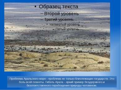 Проблема Аральского моря - проблема не только близлежащих государств. Это бол...