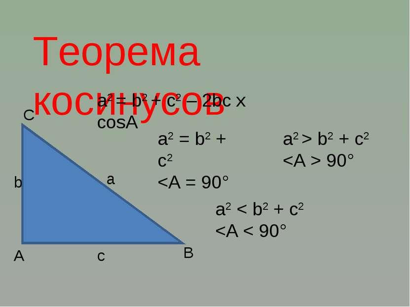 Теорема косинусов А С В с b а a2 = b2 + c2 – 2bc x cosA a2 = b2 + c2 b2 + c2 ...