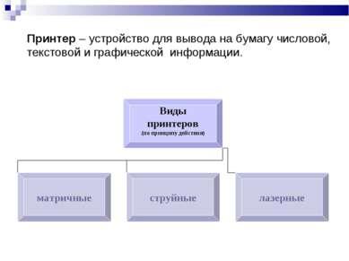 Принтер – устройство для вывода на бумагу числовой, текстовой и графической и...