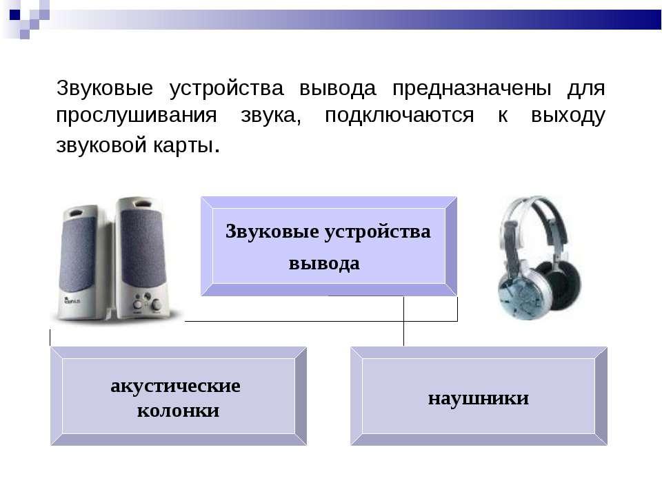 Звуковые устройства вывода предназначены для прослушивания звука, подключаютс...