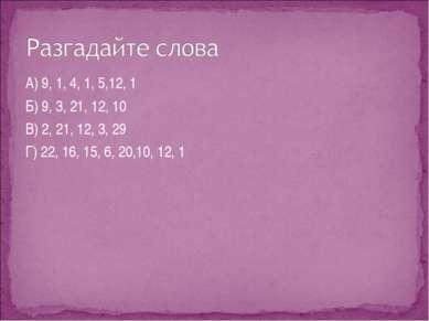 А) 9, 1, 4, 1, 5,12, 1 Б) 9, 3, 21, 12, 10 В) 2, 21, 12, 3, 29 Г) 22, 16, 15,...