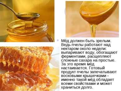 Мёд должен быть зрелым. Ведь пчелы работают над нектаром около недели: выпари...