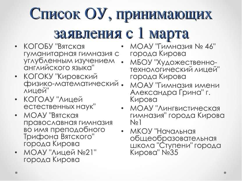 Список ОУ, принимающих заявления с 1 марта