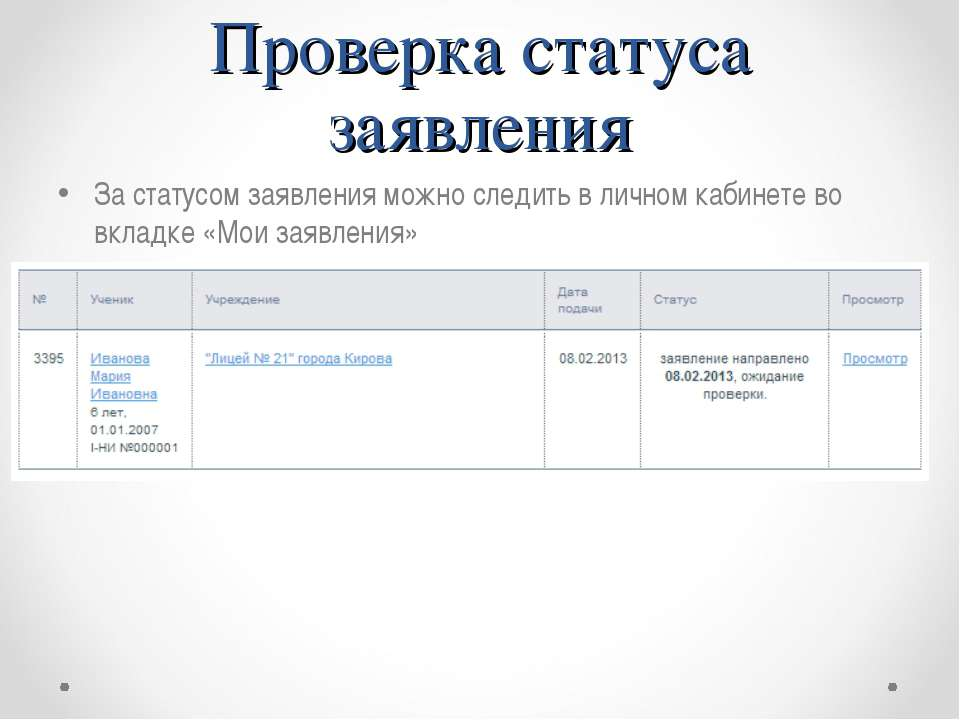 Проверка статуса заявления За статусом заявления можно следить в личном кабин...