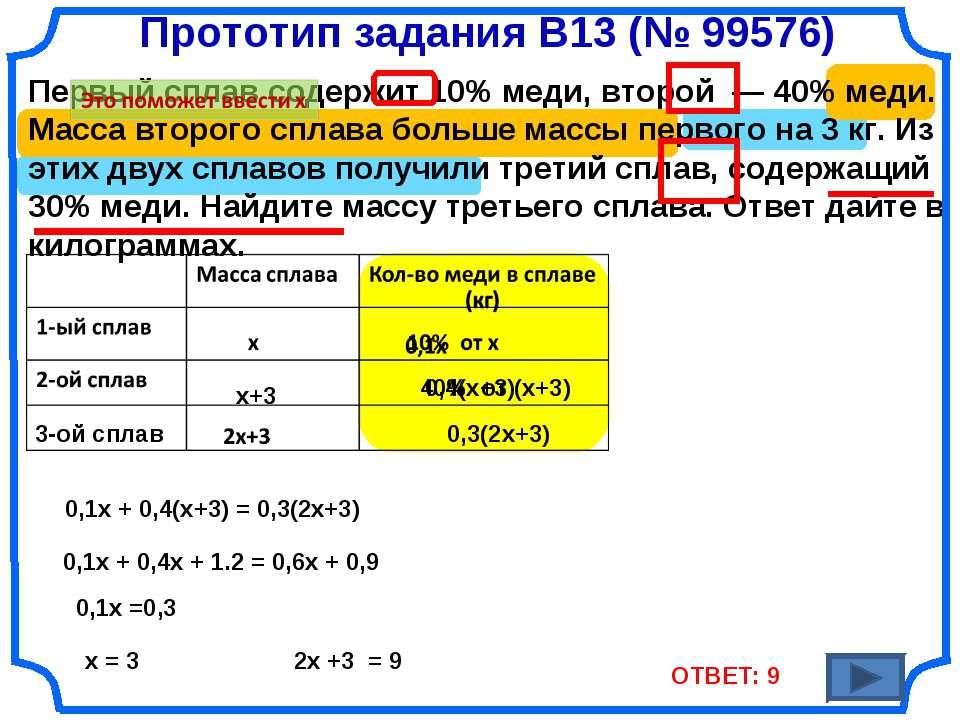 Прототип задания B13 (№ 99576) Первый сплав содержит 10% меди, второй — 40% ...