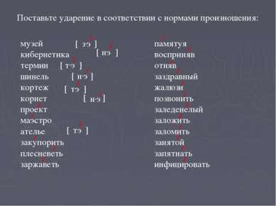 Поставьте ударение в соответствии с нормами произношения: музей кибернетика т...