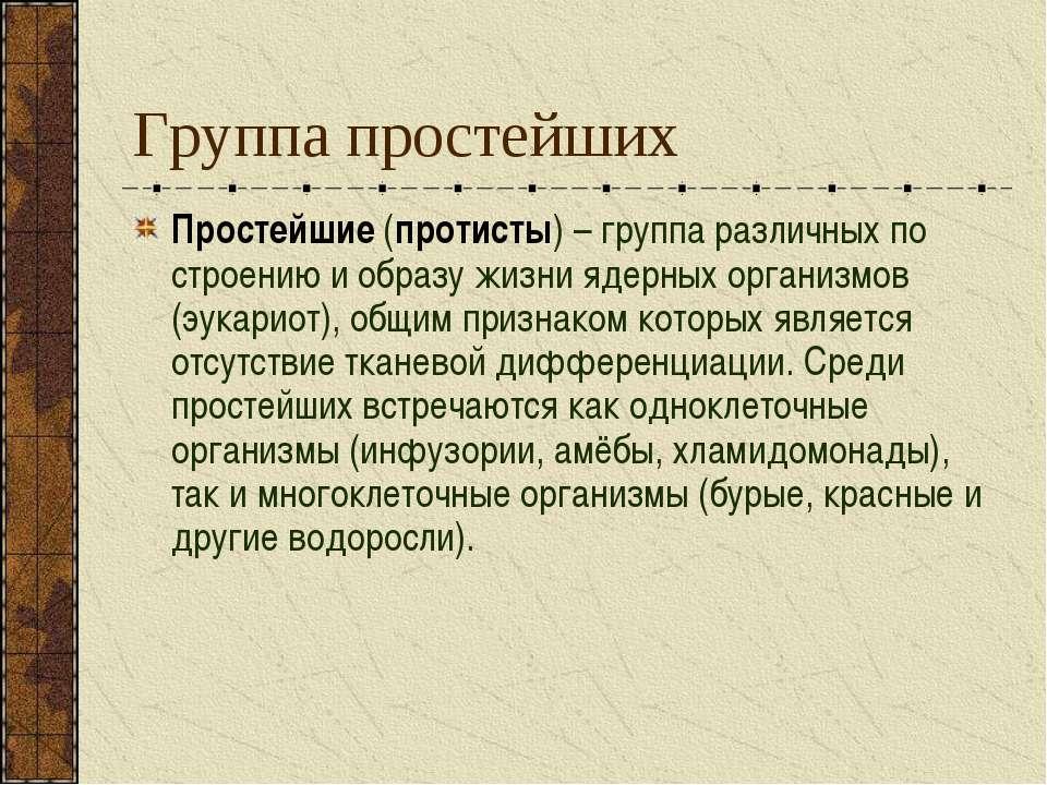 Группа простейших Простейшие (протисты) – группа различных по строению и обра...