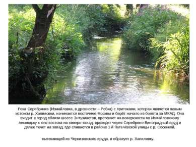 Река Серебрянка (Измайловка, в древности – Робка) с притоками, которая являет...
