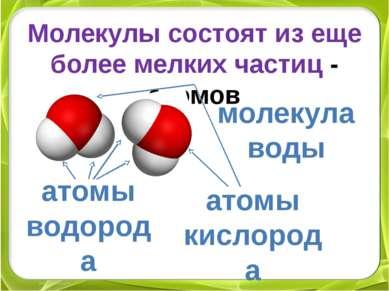Молекулы состоят из еще более мелких частиц - атомов молекула воды атомы водо...
