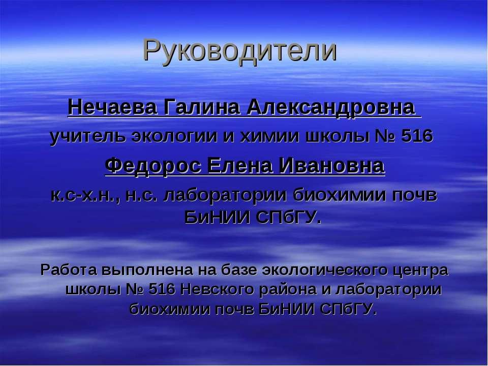 Руководители Нечаева Галина Александровна учитель экологии и химии школы № 51...