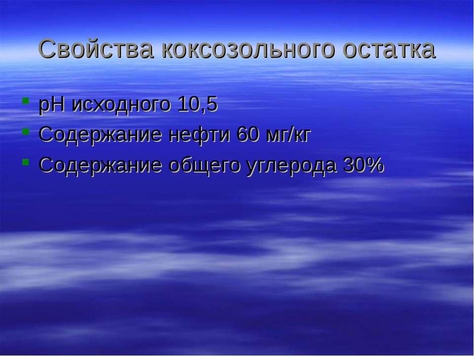 Свойства коксозольного остатка рН исходного 10,5 Содержание нефти 60 мг/кг Со...
