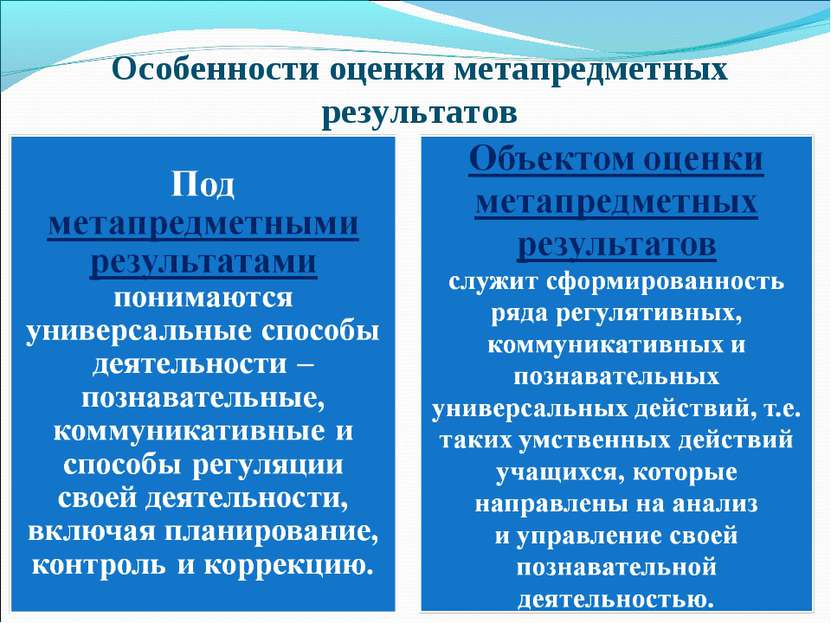Особенности оценки метапредметных результатов
